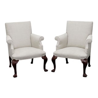 Baker Georgian Style Armchairs With Paw Feet - Pair For Sale