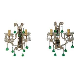 Circa 1930 Emerald Green Murano Drops Beaded Mirror Sconces - a Pair For Sale