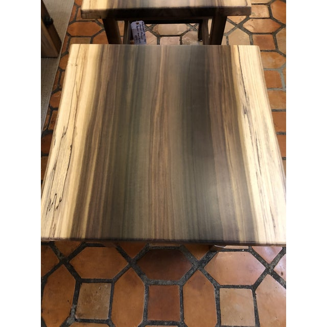 A beautiful pair of gorgeous grained poplar end tables having live edges and simple classic design.