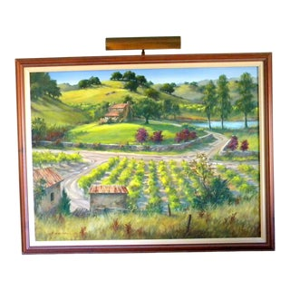 Large California Wine Country Picture Light Framed Painting For Sale