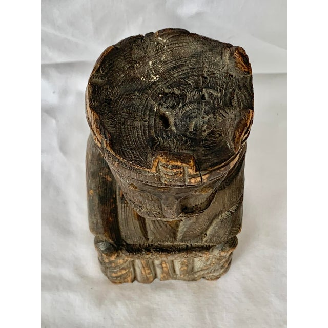 Early 20th Century Vintage Hand Carved Wooden King Sculpture For Sale - Image 5 of 11