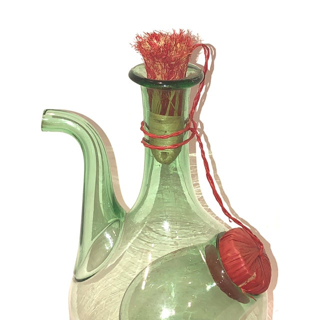 Boho Chic Green Blown Glass Wine Jug with Ice Bubble For Sale - Image 3 of 4