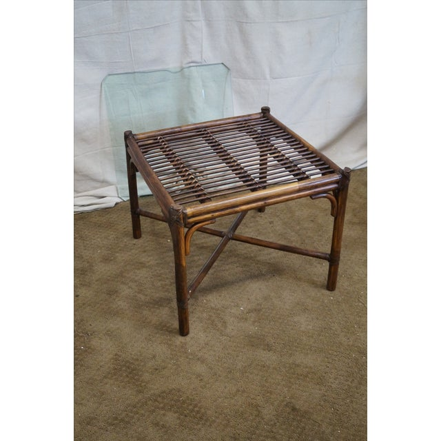McGuire Rattan Bamboo Square Glass Top Side Table - Image 9 of 10