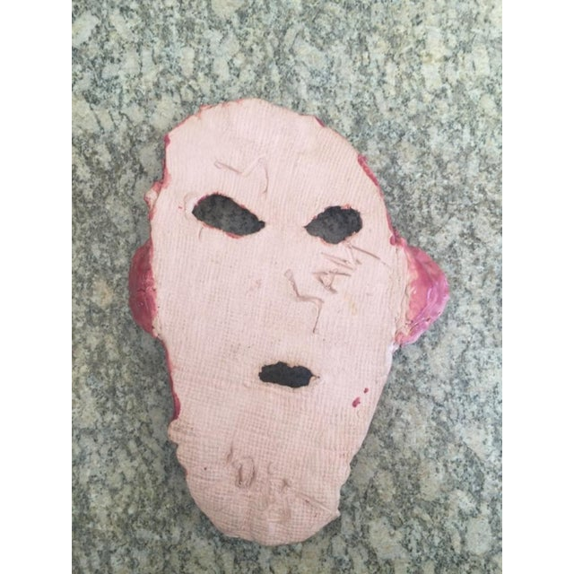 Folk Art Mid 20th Century Pink & Yellow Glazed Face For Sale - Image 3 of 4