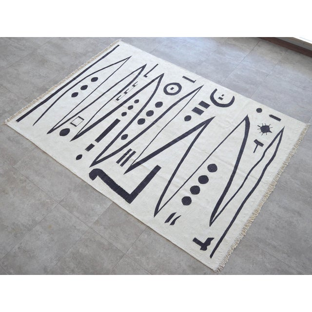 Paul Klee Paul Klee - Heroic Strokes of the Bow - Inspired Silk Hand Woven Area - Wall Rug 4′7″ × 6′4″ For Sale - Image 4 of 12