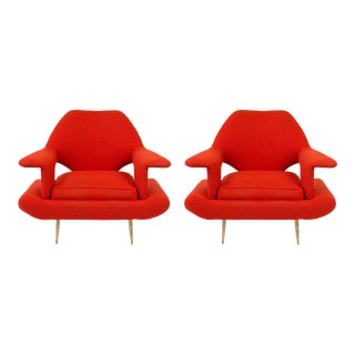 Sculptural Large Mid-Century Italian Lounge Chairs - a Pair For Sale