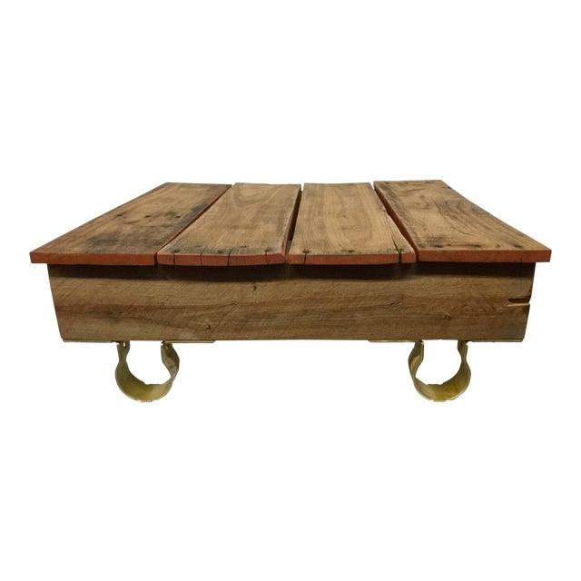 Boho Chic Low Reclaimed Hardwood Meditation Table For Sale