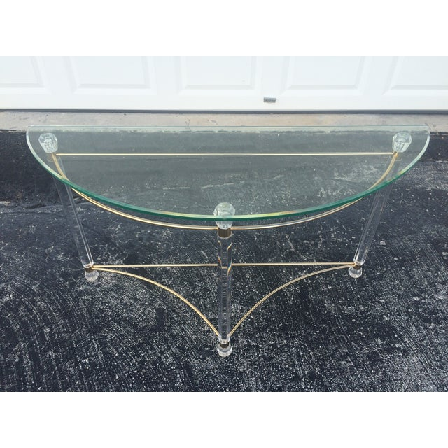 Lucite & Brass Sofa Table - Image 6 of 7
