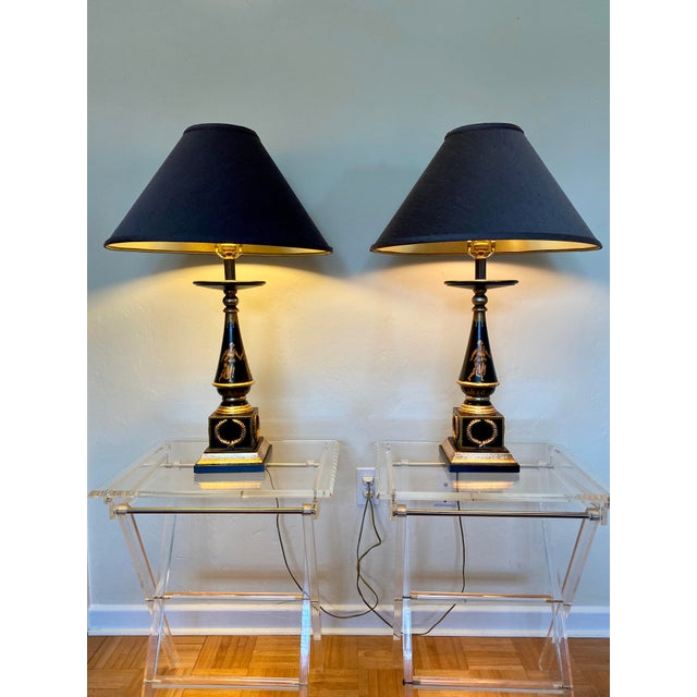 Baker Furniture Company Italian Hand Painted Neoclassical Style Gilt Wood Lamps - a Pair For Sale - Image 4 of 13