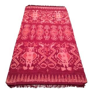 "Vintage Pink Ikat Rug or Coverlet - 3'10"" x 7'"