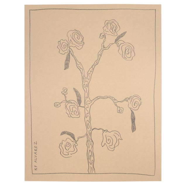 """Framed Modern Abstract Art Drawing, """"Florecimiento"""" by R F. Alvarez For Sale"""