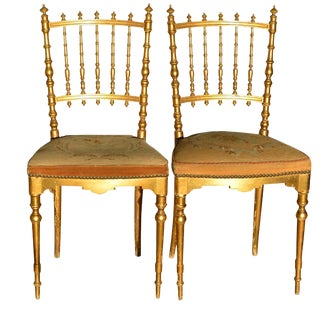 Antique Napoleon III Period Dining Chairs Floral Tapestry For Sale