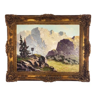 Large Framed Mountain Scene Oil Painting in Gilt Gold Frame For Sale