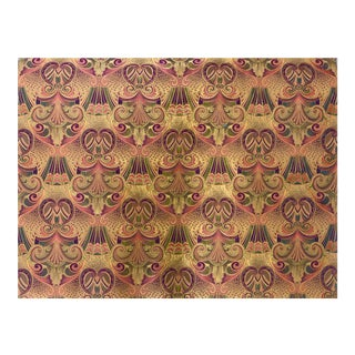 Vintage Art Deco Paisley Upholstery Fabric With Gold Accents For Sale