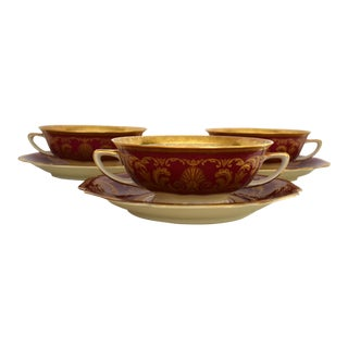 Heinrich and Co. Selb H & C Bavaria German Porcelain Red and Gold Encrusted Handled Soup Bowl and Saucer - Set of 3 For Sale
