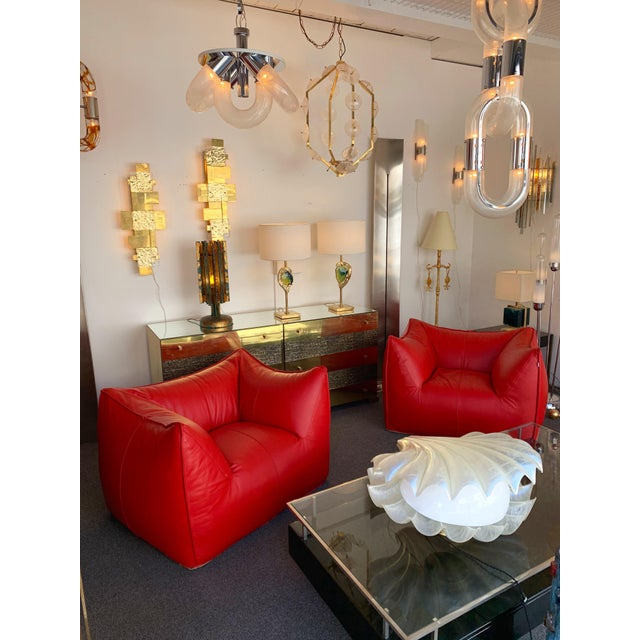 1970s Le Bambole Armchairs Red Leather by Mario Bellini for B&b Italia For Sale - Image 9 of 13
