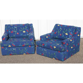 Classic Blue Crewel Stawberry & Vine Club Chairs - a Pair Preview