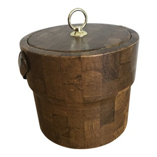 1980s Woodblock Ice Bucket For Sale
