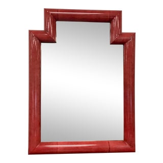 Red Lacquered Parchment or Goatskin Mirror For Sale