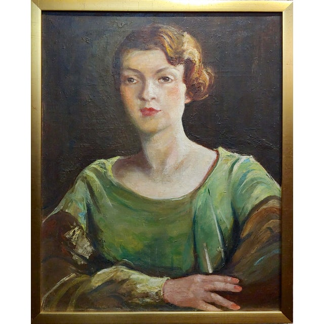 "Antonia Greene -1920s Portrait of a woman in Green -Oil painting oil painting on canvas circa 1930s frame size 22 x 28""..."