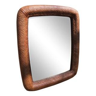 Vintage Drexel Weaved Wicker Beveled Mirror