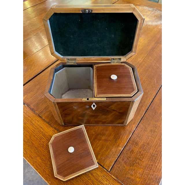 19th Century 19th Century Antique Octagonal Wooden Tea Caddy For Sale - Image 5 of 9