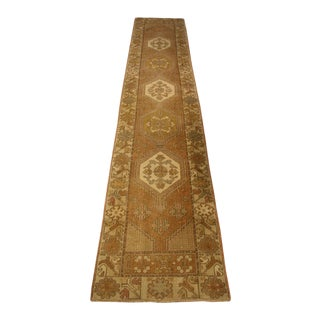 Vintage Mid-Century Turkish Oushak Runner Rug - 2′2″ × 12′2″ For Sale