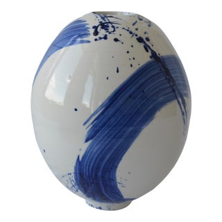Contemporary Ceramic Egg Vessel With Cobalt Calligraphy For Sale