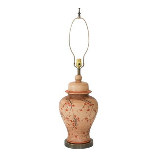 Vintage Ceramic Table Lamp W/ Cherry Blossom Motif For Sale