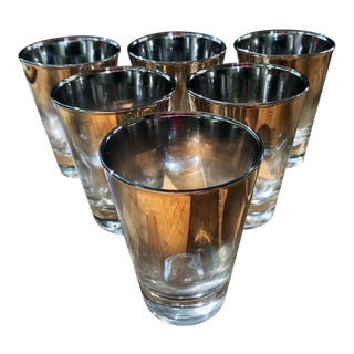 Mid-Century Modern Dorothy Thorpe Silver Mirror Chromed Ombre Cordial Glasses - Set of 6 For Sale