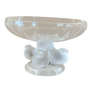 1970s Vintage Lalique Nogent Footed Bowl For Sale