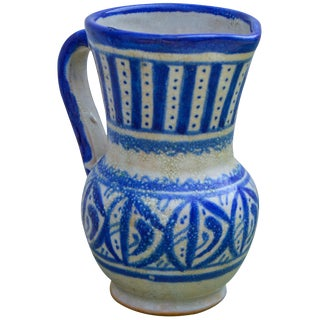 Moroccan Blue Ceramic Pitcher For Sale