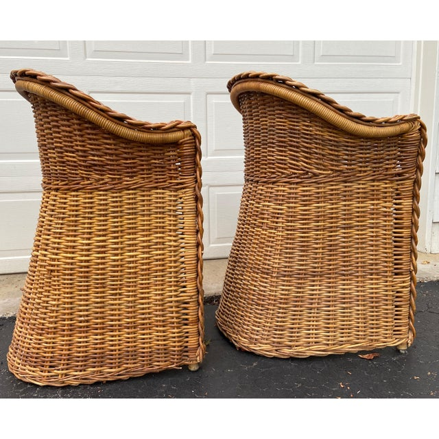 Boho Chic Vintage 1970's Crespi Style Woven Rattan and Bamboo Bar Stools - a Pair For Sale - Image 3 of 13