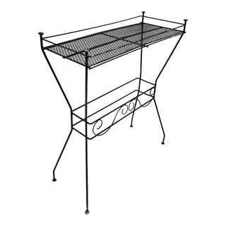 Vintage Retro Black Wire & Metal Mesh Table For Sale