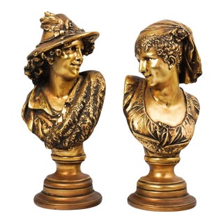 Bust Gilded Plaster Sculptures - a Pair For Sale