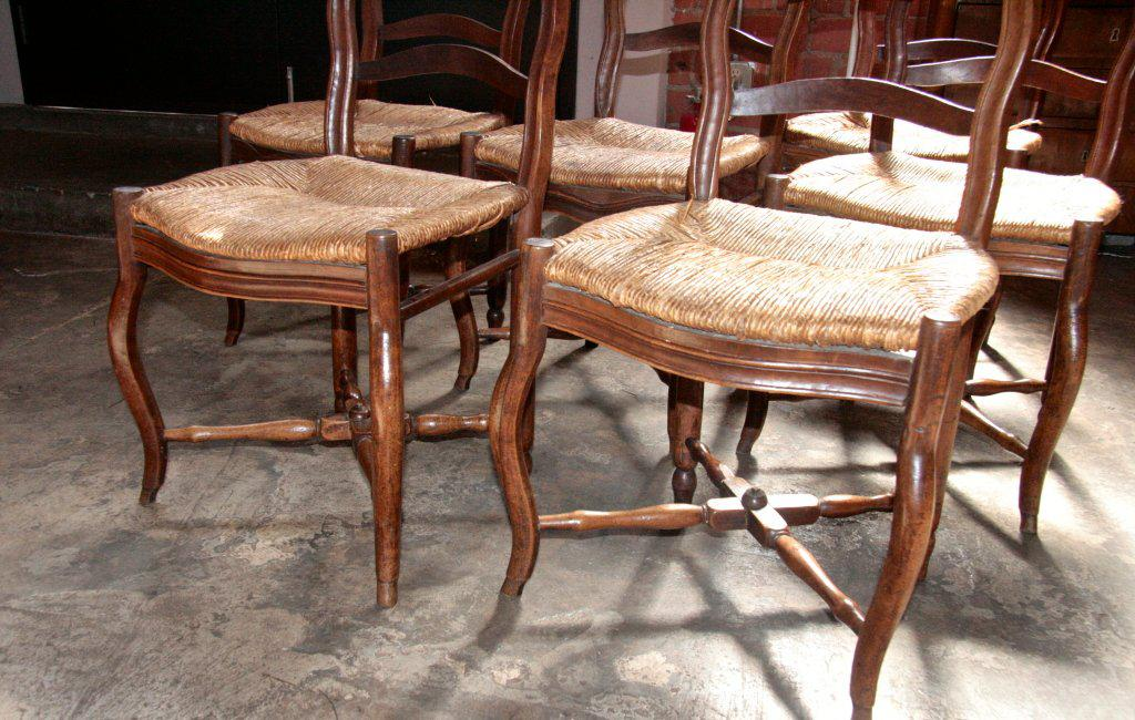 Gentil Italian 19th C. Farm Style Chairs With Thatched Seats For Sale   Image 4 Of