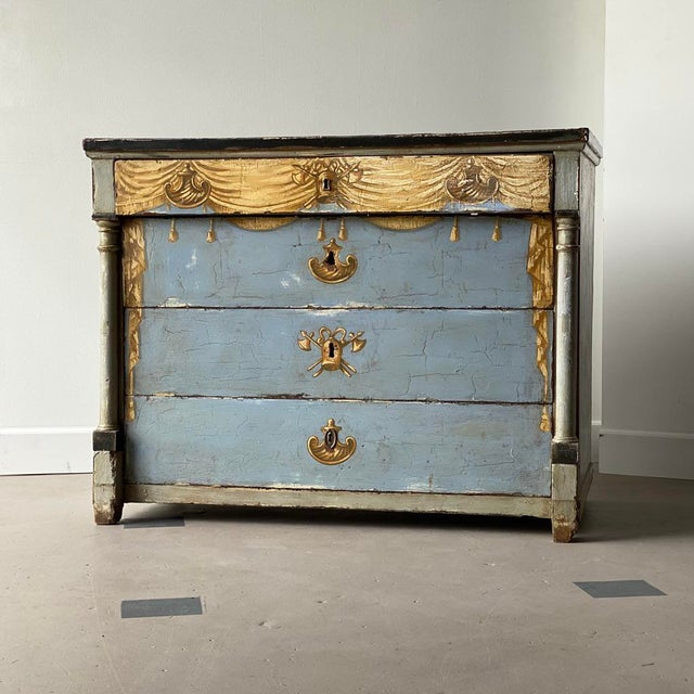 Blue 19th C. Swedish Painted Chest For Sale - Image 8 of 8