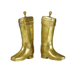 Vintage Heavy Solid Brass Texan Western Riding Boot Bookends - a Pair For Sale