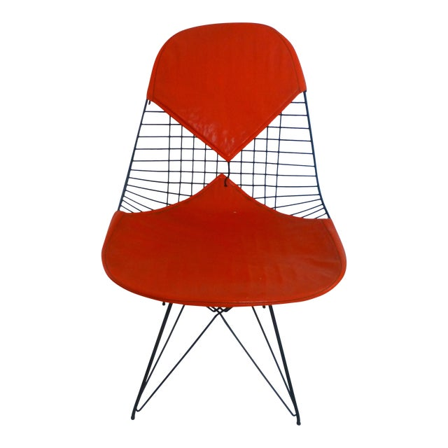 Mid-Century Eames Wire Orange Bikini Chair For Sale