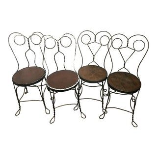 Set of 4 Antique A.H. Andrews Twisted Steel Chairs C.1889 For Sale