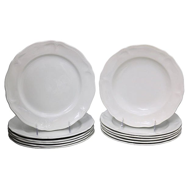 French White Porcelain Dinner & Salad Plates - 12 Pieces For Sale