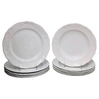 French White Porcelain Dinner & SaladPlates For Sale