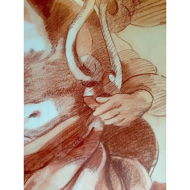 Traditional Impressive Very Large Original Drawing of Sculptural Angel For Sale - Image 3 of 8