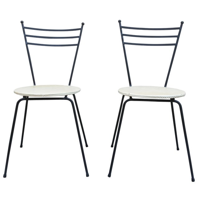Mid-Century Petite Wrought Iron Cafe Chairs - Pair - Image 1 of 9