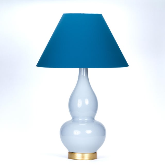 Ceramic Casa Cosima Double Gourd Table Lamp, Stinson Blue/Blue Danube Shade For Sale - Image 7 of 7