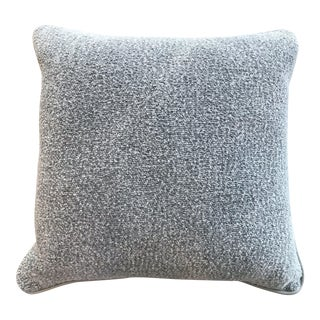 British Gray Wool Chenille Pillow With Leather Piping and Herringbone Back For Sale