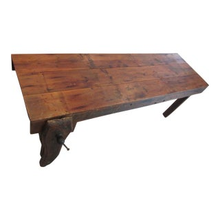 Early 20th Century Work Bench Harvest Farm Table For Sale