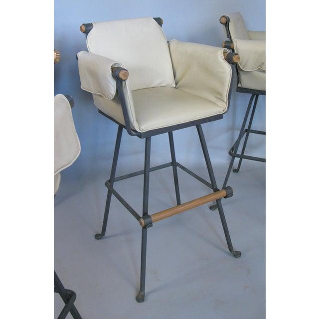 Mid-Century Modern Cleo Baldon Iron & Oak Swivel Barstools - Set of 4 For Sale - Image 3 of 10