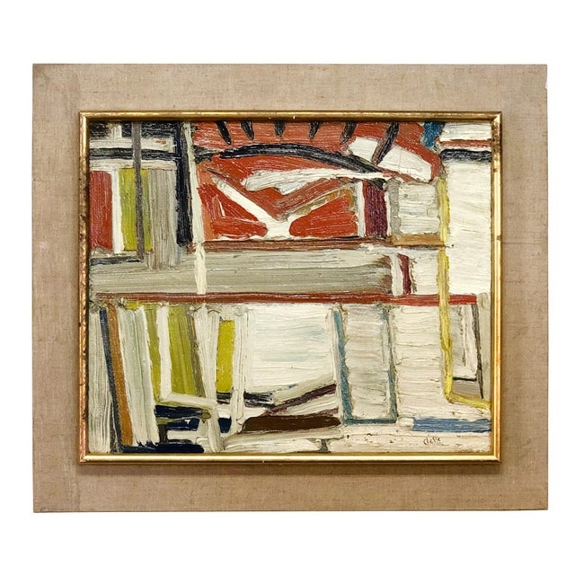 Mid 20th Century 20th Century Abstract Books on a Shelf Painting by Daniel Clesse For Sale - Image 5 of 5