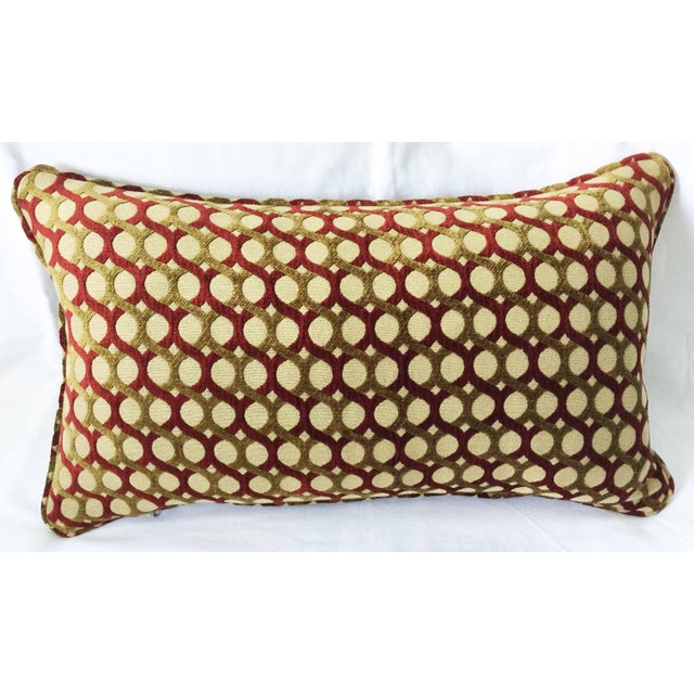 Handmade Burgundy And Gold Chenille Accent Pillow fully framed with self-welt. Both sides are the very same fabric. Pillow...